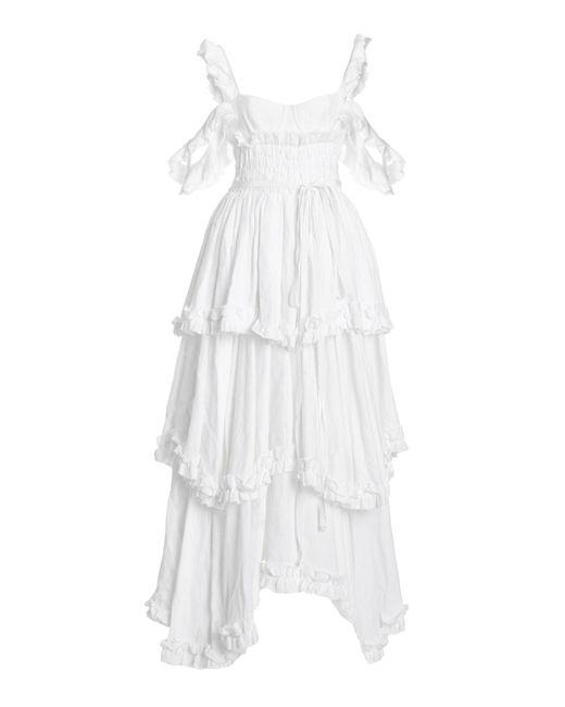 Brock Collection White Samanta Tiered Linen Cold-shoulder Maxi Dress