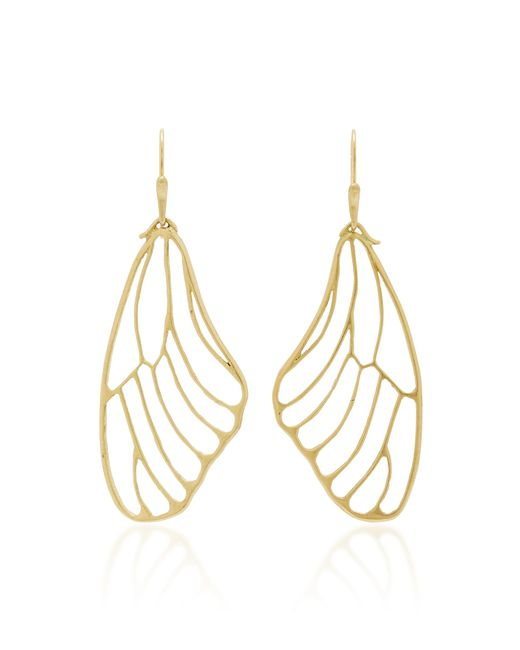 Annette Ferdinandsen Metallic 18k Gold Butterfly Wing Earrings