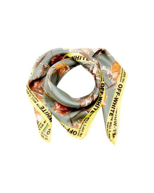 Off-White c/o Virgil Abloh Green Logo-trimmed Floral-print Silk Scarf