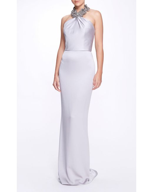 Marchesa Gray Embellished Satin Gown