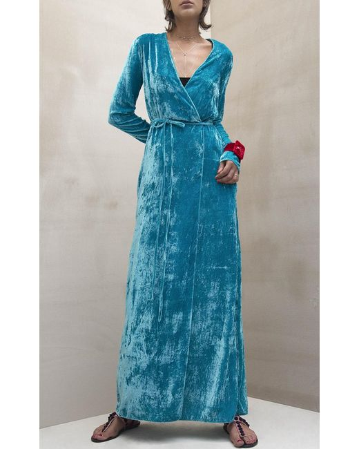 Attico Raquel Velvet Robe Dress In Blue Lyst