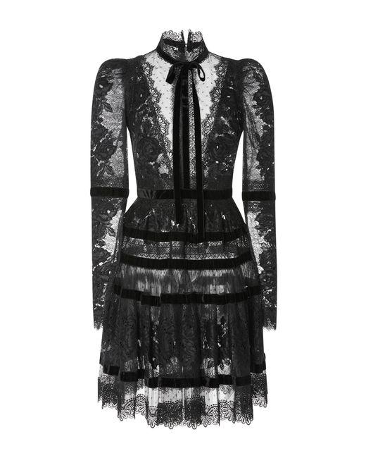 Elie Saab | Black Velvet Long Sleeve Dress | Lyst