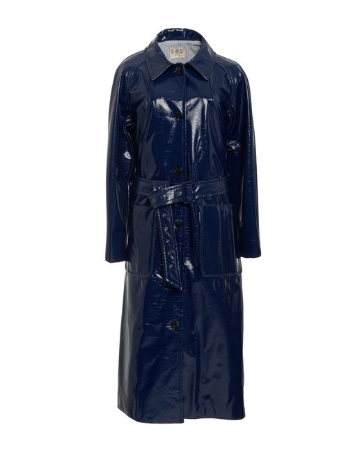 Sea Belted Vinyl Trench Coat In Blue Lyst