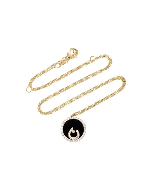Names by Noush   Black Treasure Disk Arabic Initial Necklace With Onyx Gemstone   Lyst