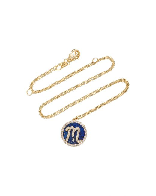 Names by Noush | Blue Treasure Disk Roman Initial Necklace With Lapis Lazuli Gemstone | Lyst