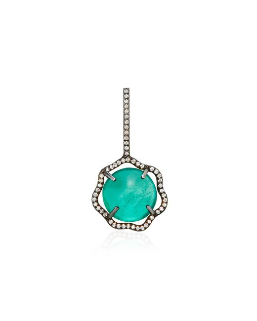 Savannah Stranger | Green Equator Charm With Gemfields Cabachon Emerald And White Diamond Pave | Lyst