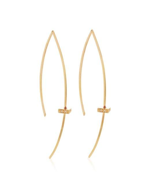 Mizuki | Metallic 14k Single Diamond Cube Slice Earrings | Lyst
