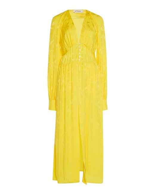 Attico Midi Robe Dress In Yellow Lyst