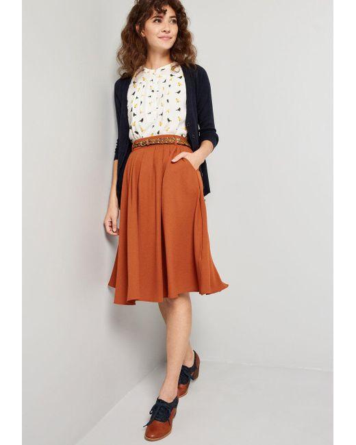4332b5648e ... ModCloth - Orange Breathtaking Tiger Lilies Midi Skirt - Lyst ...