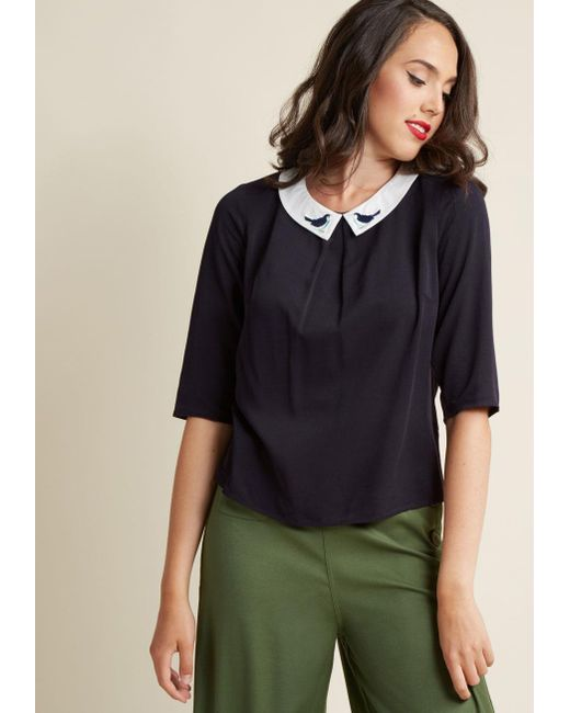 Sugarhill | Blue Just The Jay It Is Collared Top | Lyst
