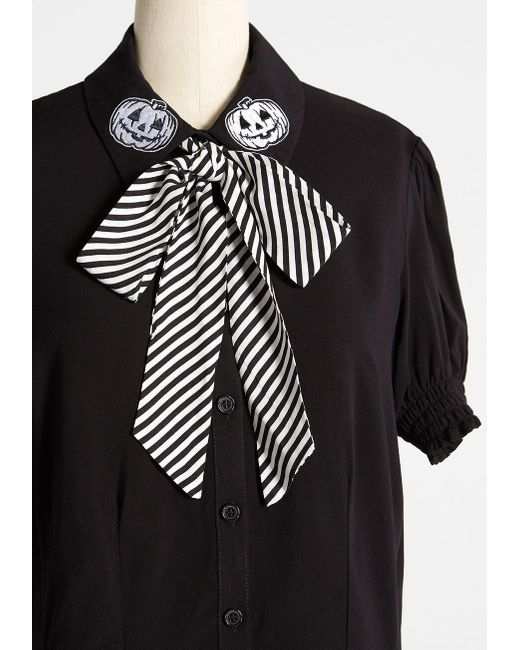 Hell Bunny Black A Chic Nightmare Tie-neck Blouse