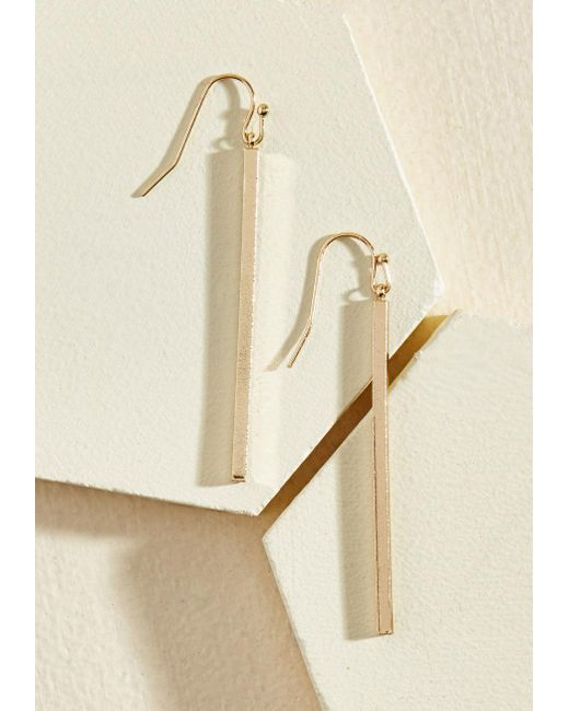 ModCloth - Metallic Key To Simplicity Earrings In Gold - Lyst