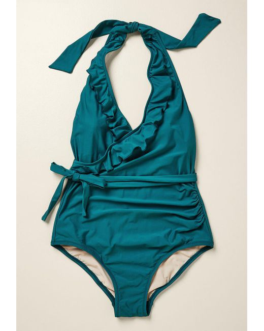 99c03e9d45f70 ... High Dive By ModCloth - Green Here Comes Ruffle One-piece Swimsuit -  Lyst ...