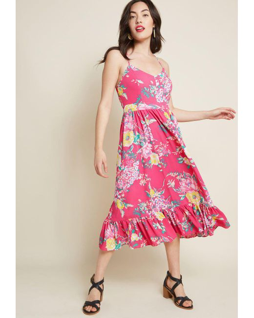 Nine West - Pink Smile And Sway Midi Dress - Lyst