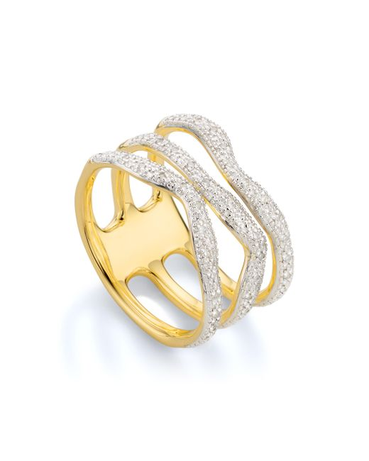 Monica Vinader | Metallic Riva Diamond Wave Triple Ring | Lyst