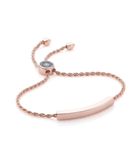 Monica Vinader | Pink Linear Evil Eye Toggle Bracelet - Blue & White Diamonds | Lyst