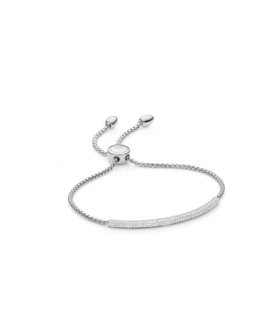 Monica Vinader - Metallic Fiji Diamond Mini Bar Bracelet - Lyst