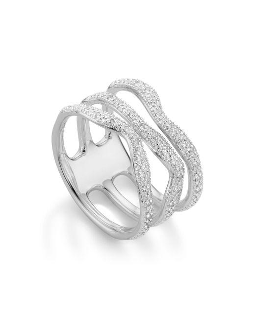 Monica Vinader Metallic Riva Diamond Wave Triple Ring