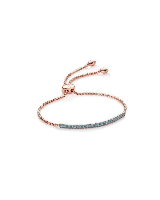 Monica Vinader - Blue Stellar Diamond Mini Bar Bracelet - Lyst