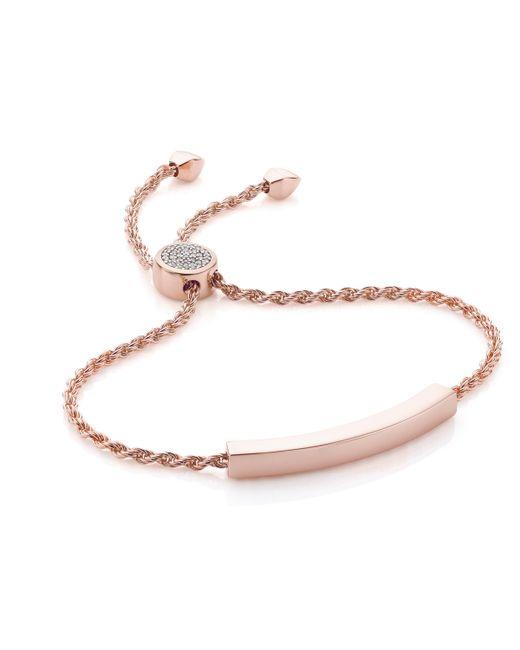 Monica Vinader - Pink Linear Diamond Toggle Chain Bracelet - Lyst