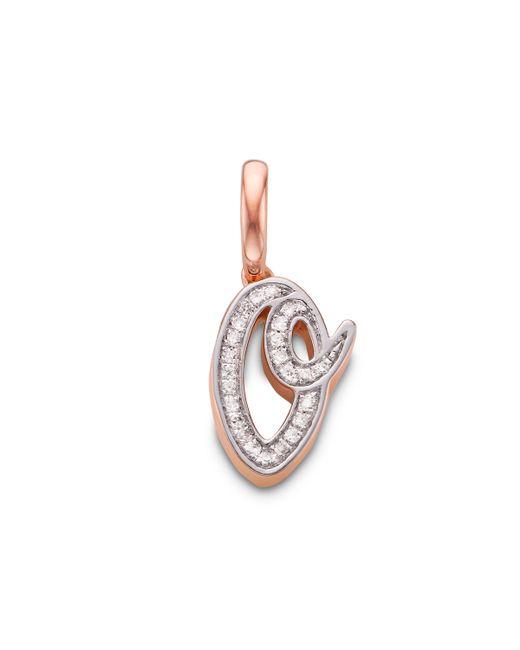 Monica Vinader - Pink Alphabet O Diamond Pendant Charm - Lyst