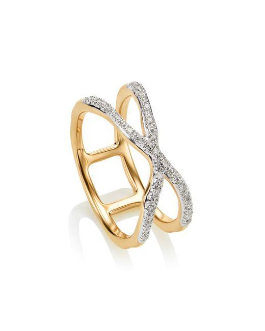 Monica Vinader - Metallic Riva Wave Cross Ring - Lyst