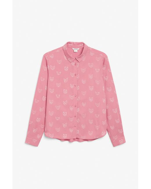 Monki Pink Classic Button-up Blouse
