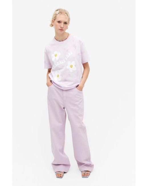 Monki Purple Statement Cotton T-shirt