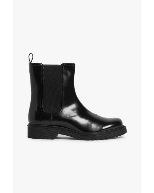 Monki Black Faux Leather Ankle Boots