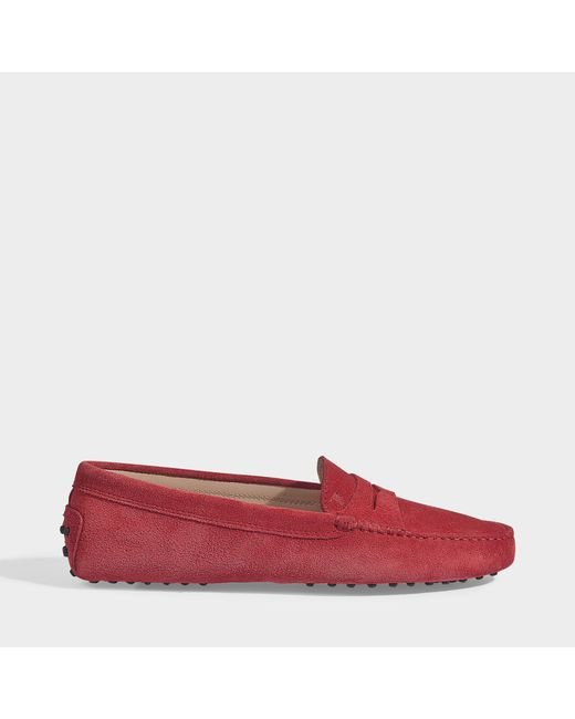 6449ac6a256 Tod s - Red Gommino Suede Loafers - Lyst ...