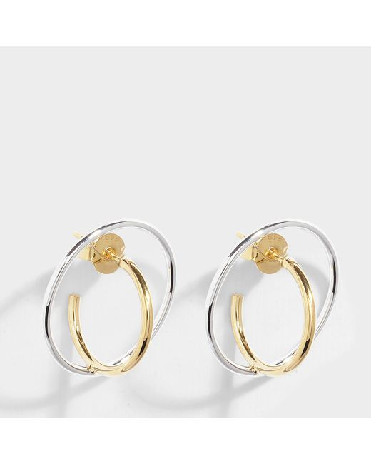 Charlotte Chesnais - Metallic Saturn Small Earrings In Vermilion Gold And Silver Vermilion - Lyst