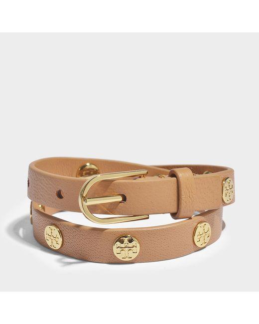 Tory Burch - Multicolor Double-wrap Logo Stud Bracelet In Metallic Calfskin - Lyst