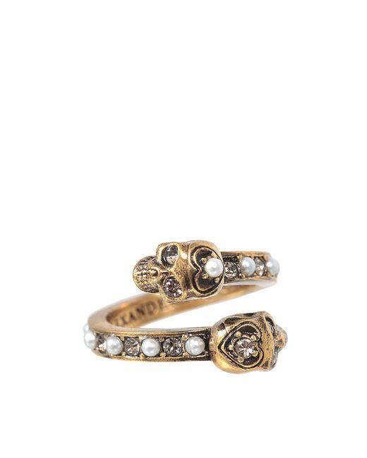 Alexander McQueen | Metallic Twin Skull Ring | Lyst