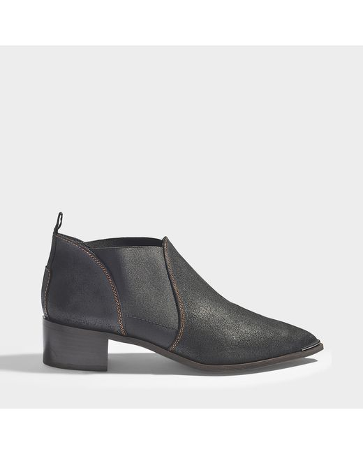 Acne - Jenny Waxed Suede Leather Boots In Black Calfskin - Lyst