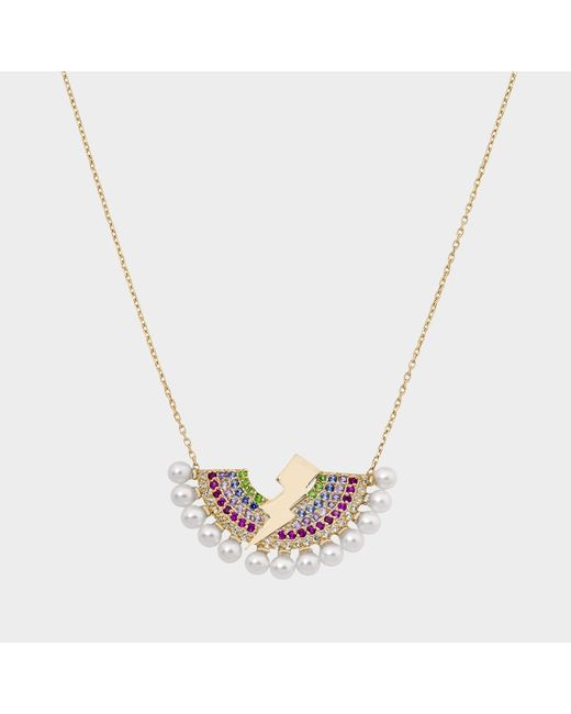 Anton Heunis - Metallic Rainbow Lighting Bulb Necklace In 14k Gold And Precious Stones - Lyst