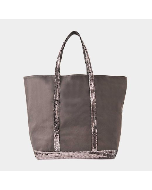 Vanessa Bruno - Gray Canvas And Sequins Medium + Zipped Tote In Anthracite Cotton - Lyst