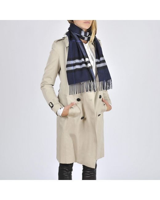 Burberry - Blue Giant Icon Check Cashmere Scarf 168x30cm - Lyst ... d2f875aa283c7