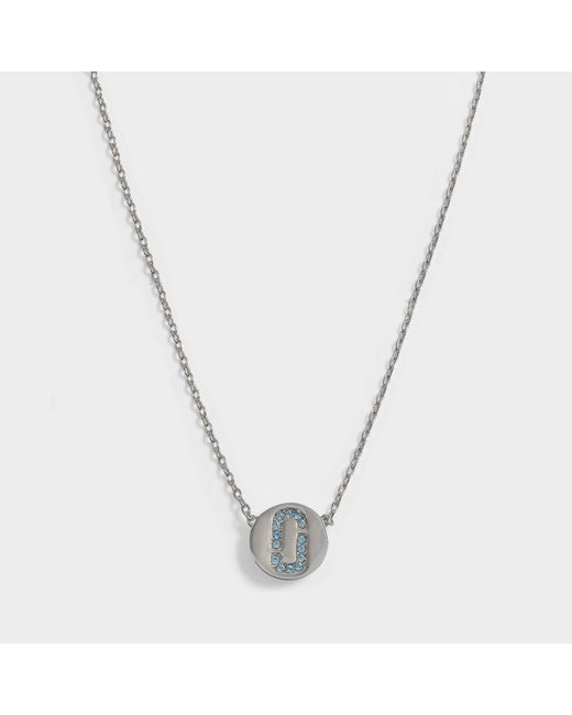 Marc Jacobs - Metallic Double J Pave Pendant Necklace In Silver And Light Turquoise Brass - Lyst