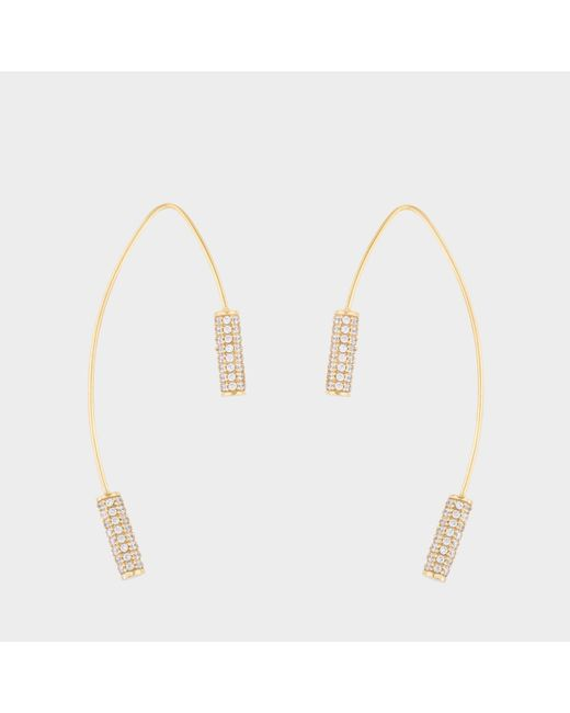 Joanna Laura Constantine - Metallic Gold Plated Knot Hoop Earrings With Cubic Zirconia - Lyst