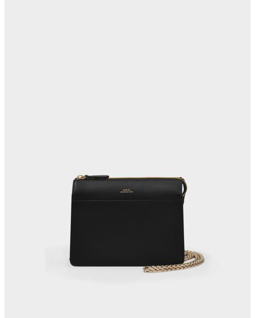 A.P.C. Ella Mini Chaine Bag In Black Smooth Leather