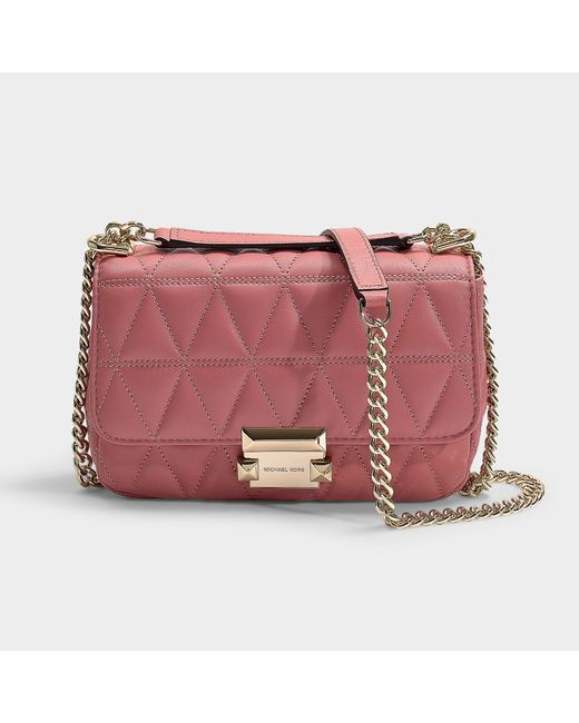 47bbab7b9f9e8 MICHAEL Michael Kors - Pink Sloan Small Chain Shoulder Bag In Rose Quilted  Lambskin - Lyst ...