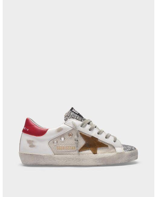 Golden Goose Deluxe Brand White Sneaker Super-star Aus Weißem Und Buntem Leder