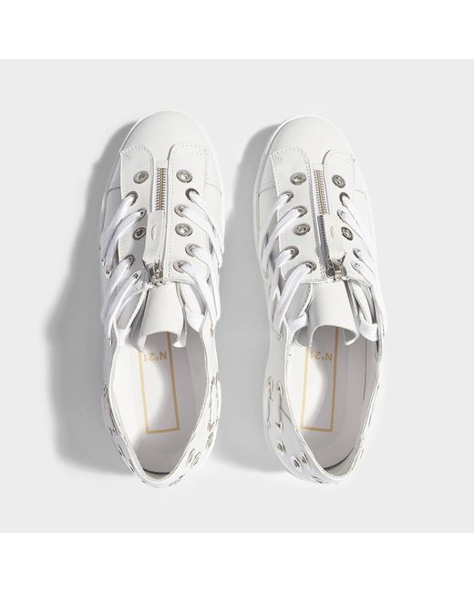 Zip Front Sneakers With Rivet and Lace Detail in White Leather N seBtzZ