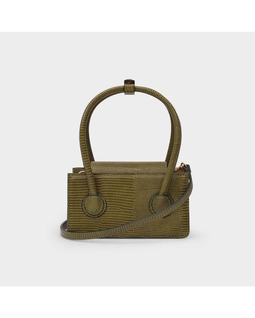 MARGE SHERWOOD Green Handbag Grandma Mini In Khaki Leather Embossed Lizard