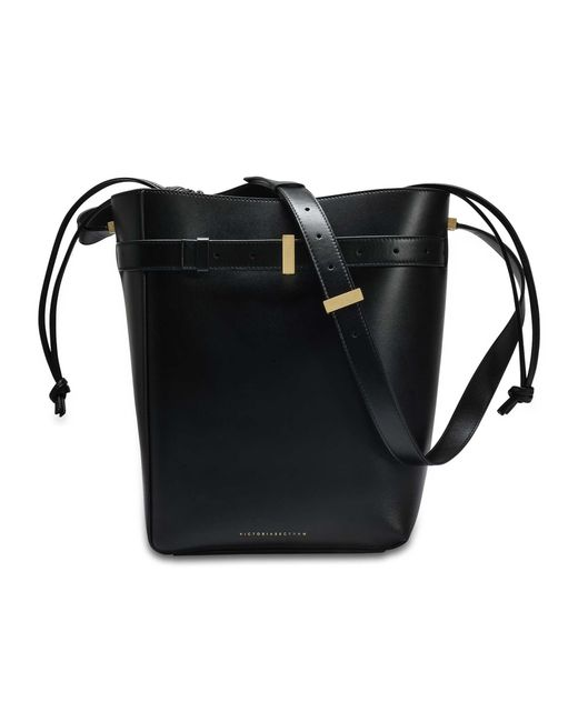 Victoria Beckham - Twin Bucket Bag In Black Calf Leather - Lyst