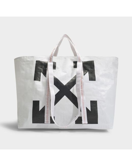 Off-White c/o Virgil Abloh Arrows Tote Bag In White And Black Pvc