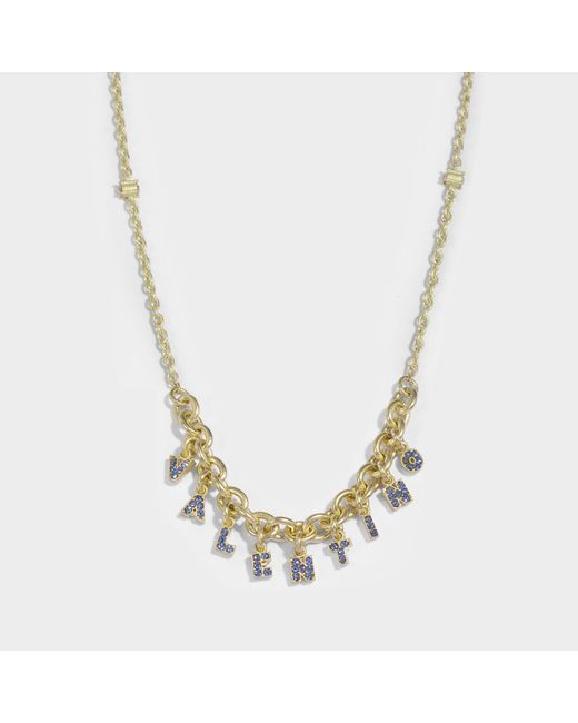 Valentino - Blue Valentino Crystals Lettering Choker Necklace In Metal And Zaffiro Swarovski Crystals - Lyst