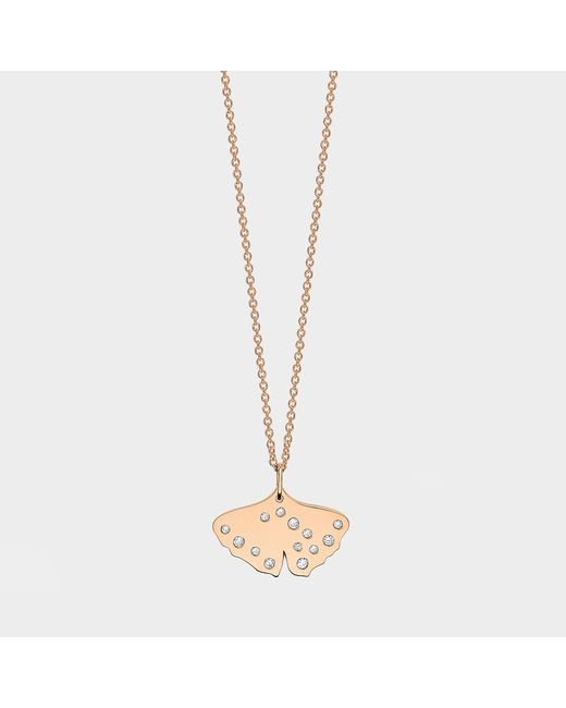 Ginette NY - Metallic Mini Diamond Gingko On Chain Necklace In 18k Rose Gold - Lyst