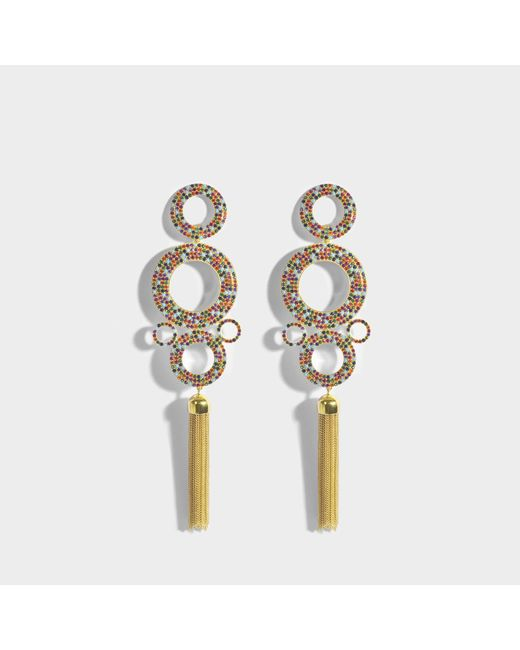 Joanna Laura Constantine - Metallic Grommets Statement Rainbow Earrings In Gold-plated Brass With Multicolored Stones - Lyst