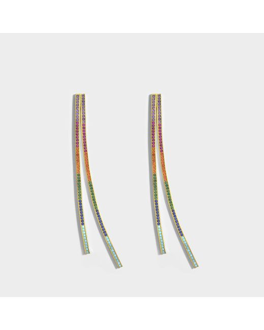 Joanna Laura Constantine Criss Cross Rainbow Earrings in Multi Gold-Plated Brass with Multicolored Stones 25SME